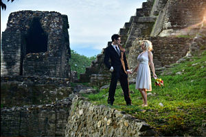 wedding photo at Altun Ha Belize