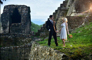 Intimate Belize Weddings Altun Ha Maya ruins with  Belize Boutique Resort and Spa