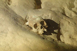 human skull seen in the ATM Cave Belize